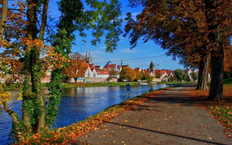 city Ulm Bavaria river germany road wallpaper