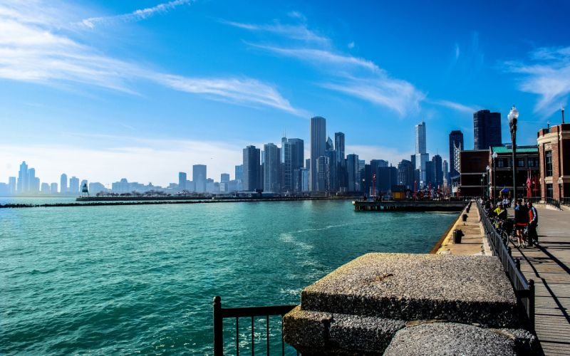 chicago river skyscrapers illinois city michigan wallpaper