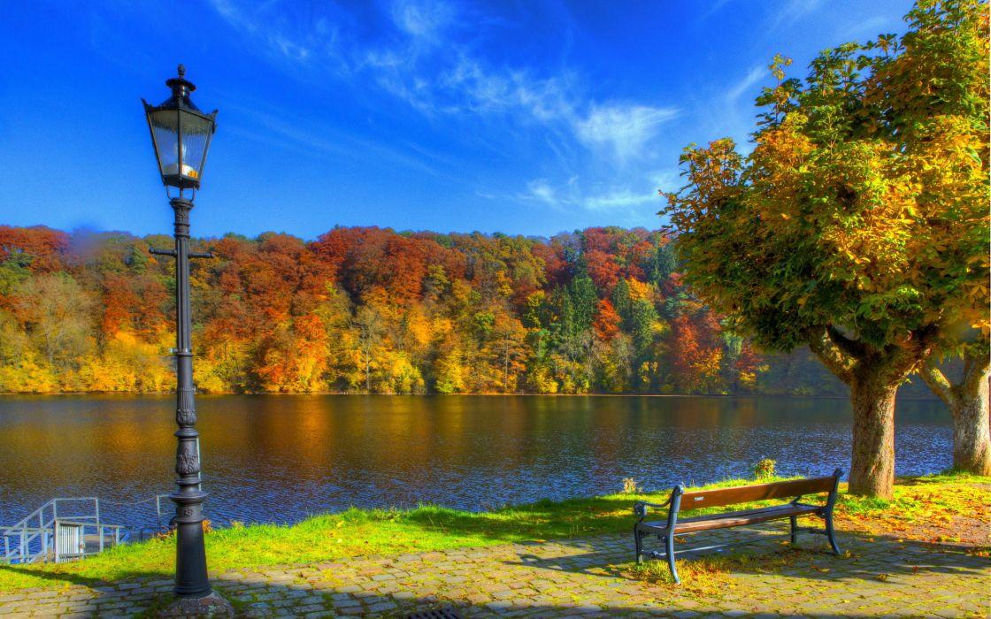 bench sky autumn lights river Ulm Germany wallpaper