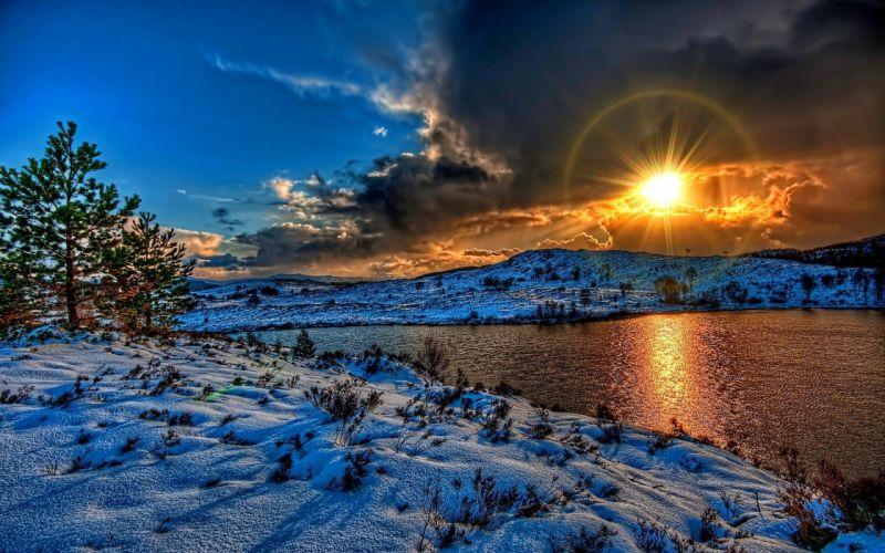 sun river sky snow winter clouds nature sunset wallpaper