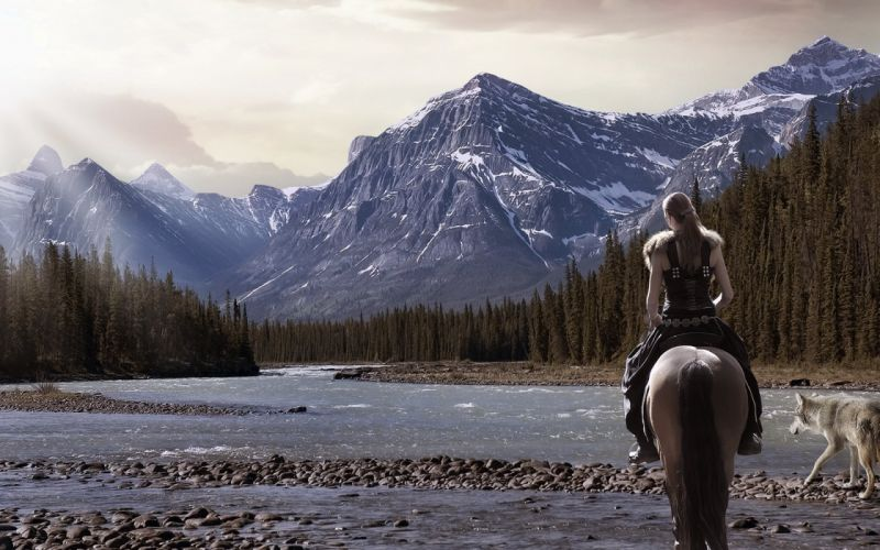 river wolf girl nature forest warrior horse mountain wallpaper