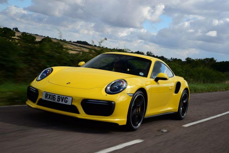 Porsche 911 Turbo Coupe UK-spec (991) cars yellow 2016 wallpaper