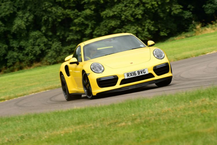 Porsche 911 Turbo Coupe UK-spec (991) cars yellow 2016 wallpaper