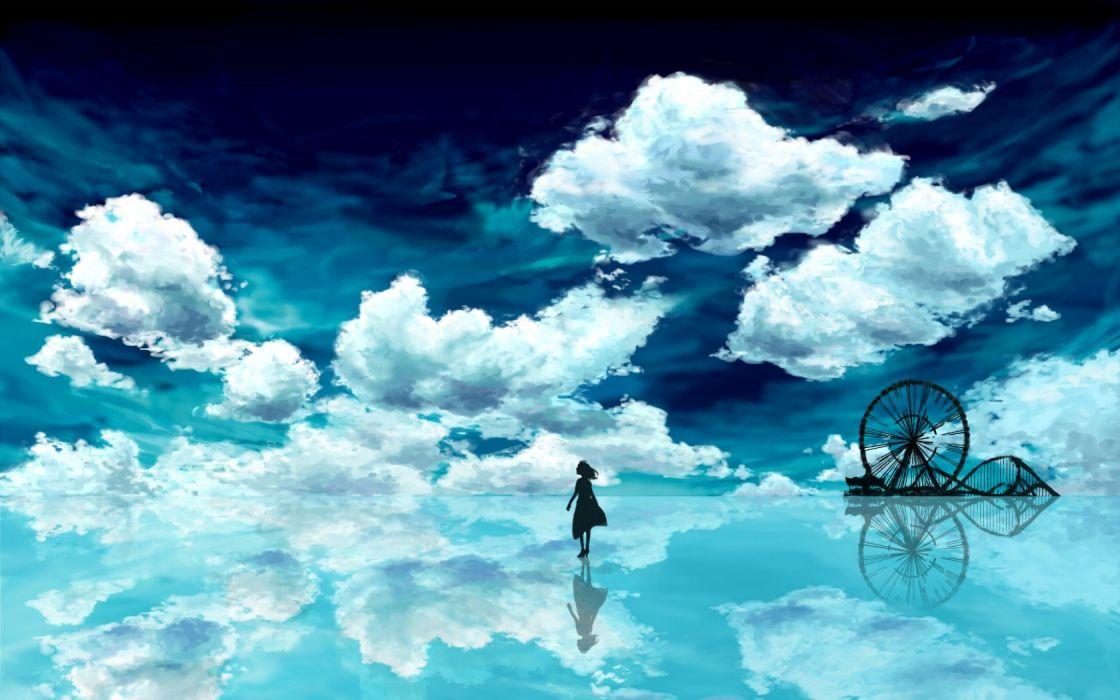 anime blue sky girl clouds wallpaper