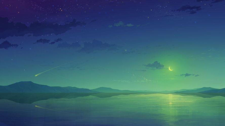 anime night sky clouds wallpaper