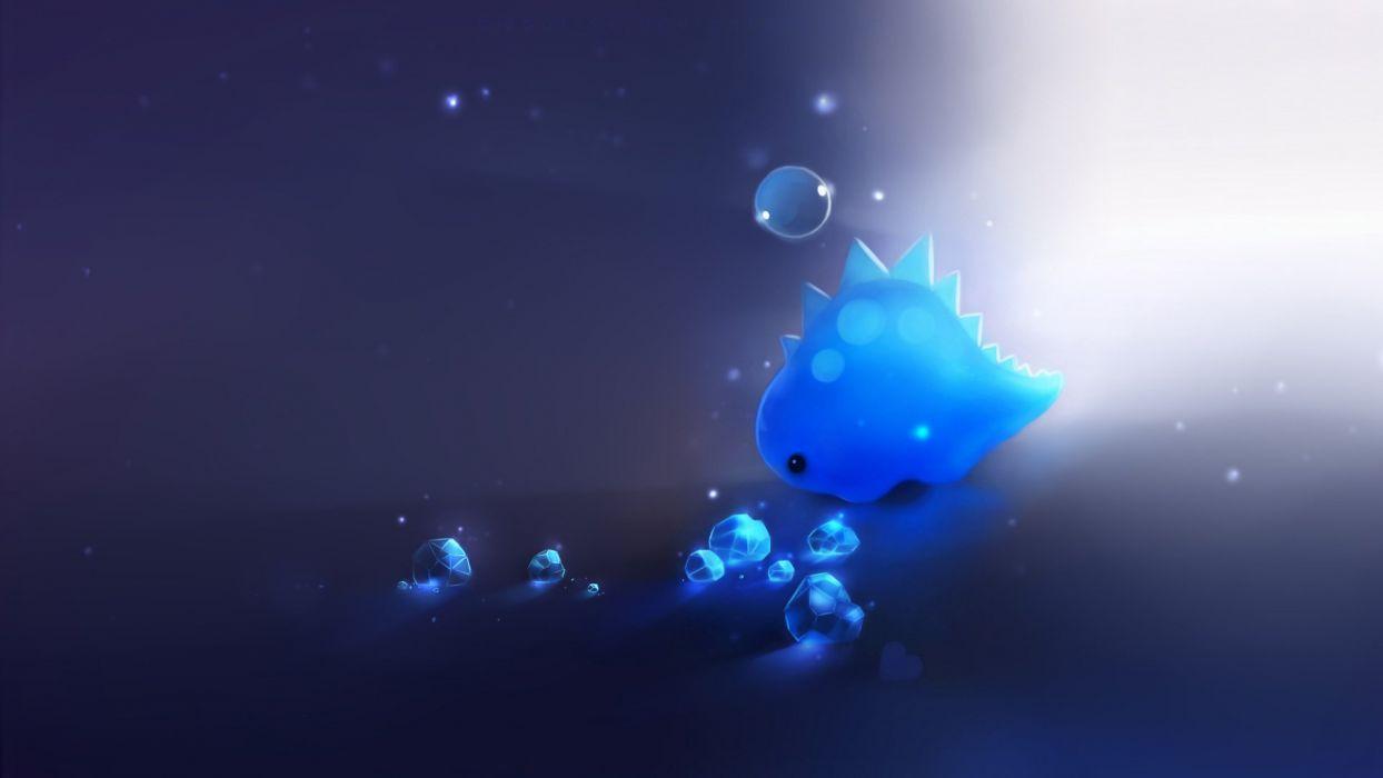 Art apofiss bubble crystal blue light dinosaur wallpaper