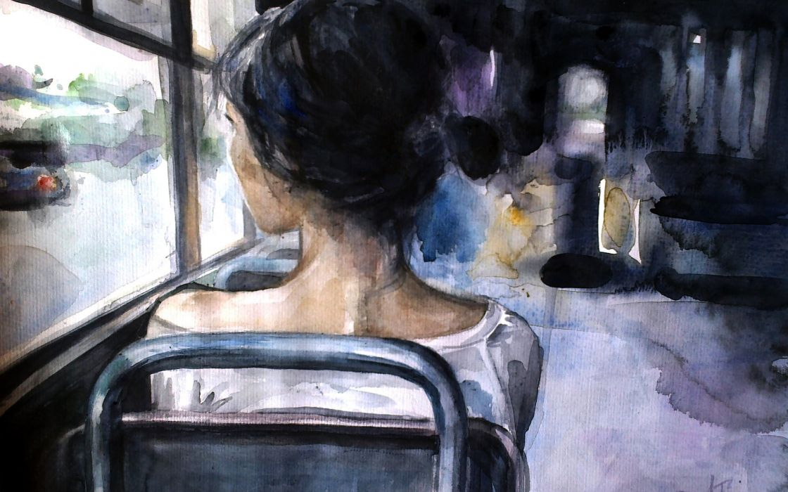 art girl loneliness bus painting wallpaper