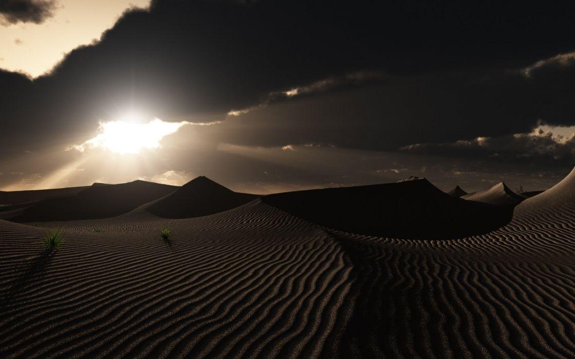 art footprints nature clouds desert dunes sunset grass wallpaper