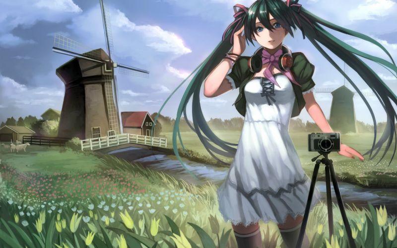 Art hatsune miku girl vocaloid Vocaloid landscape wallpaper