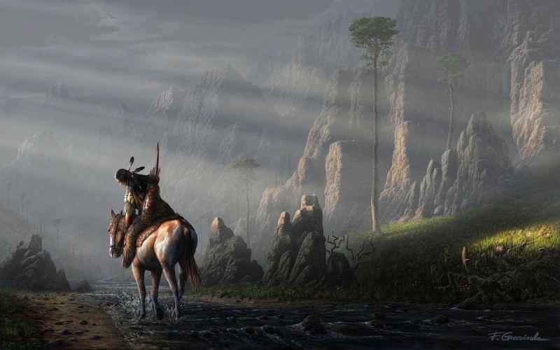 art landscape fel-x man horse feathers horse wallpaper