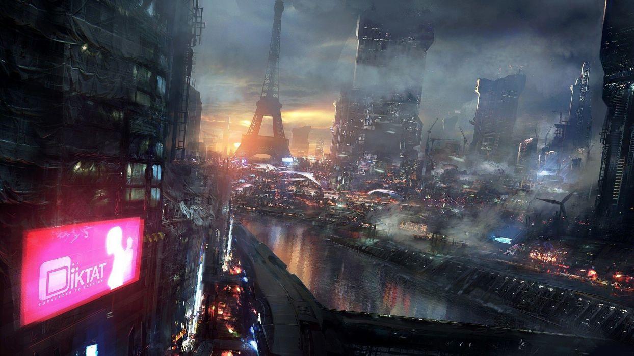 Art Night City Future Fantasy Wallpaper