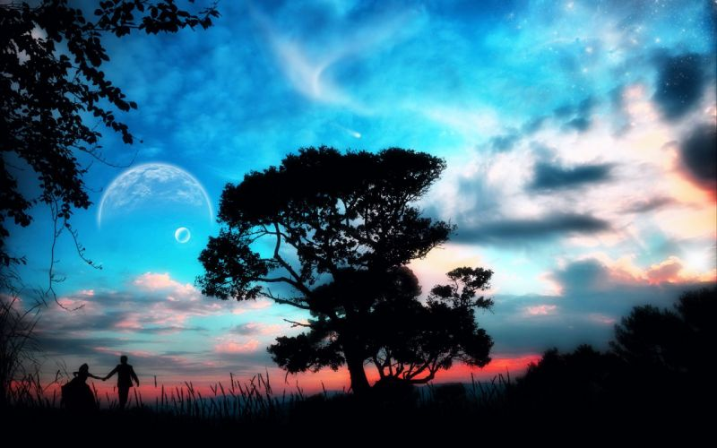 tree come away with me come with me a planet a fantastic world couple wallpaper