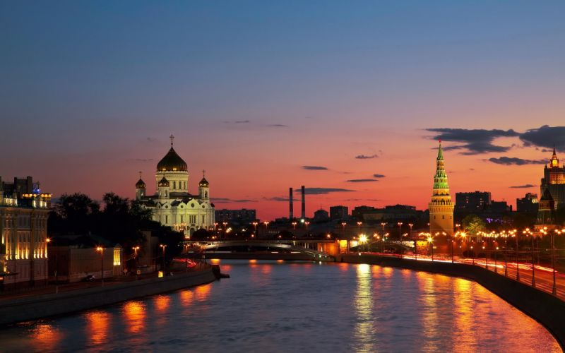 Russia city Moscow sunset river wallpaper
