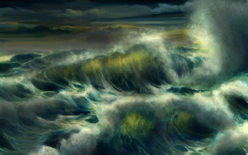 art wave water storm foam ocean sea wallpaper