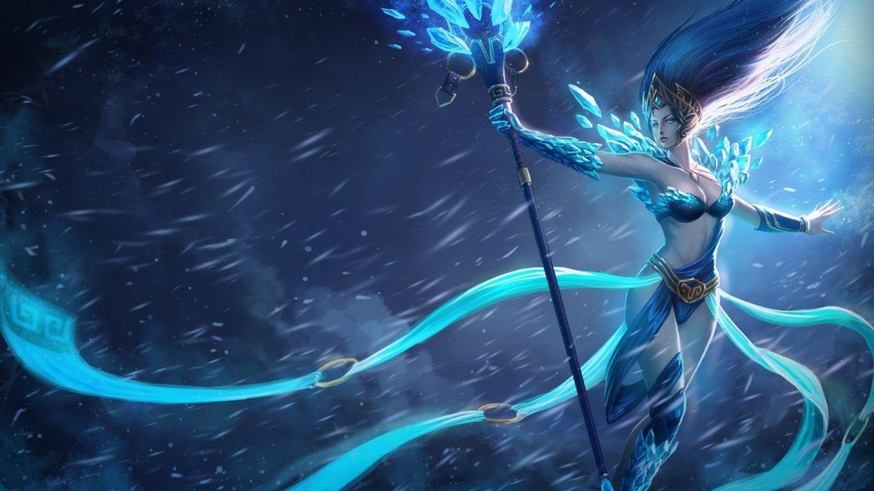art snow mage sorceress storm league of legends staff wallpaper