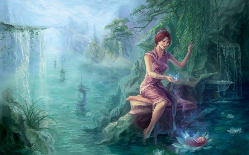 art stream girl water river waterfall pond forest wallpaper
