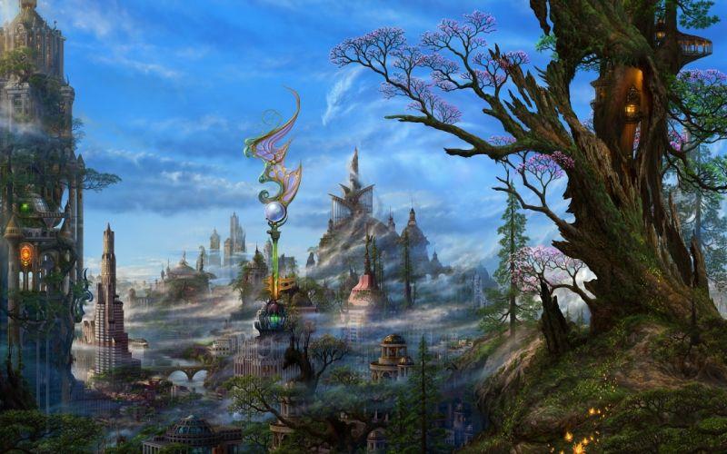 art smoke fantasy kazamasa uchio ucchiey trees city wallpaper