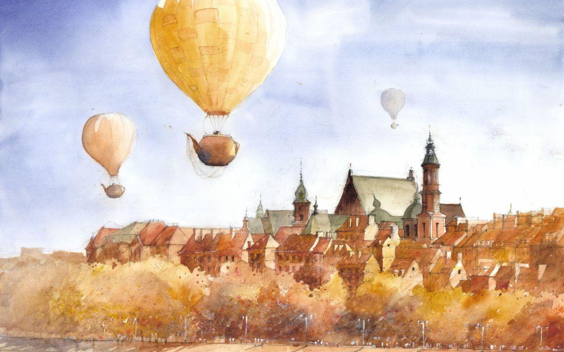 art surrealism flying teapots drawing tytus brzozowski wallpaper