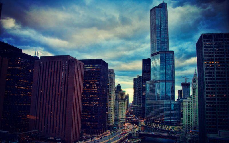 night skyscrapers river illinois city chicago wallpaper