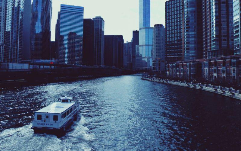 center chicago river illinois illinois skyscrapers usa chicago wallpaper