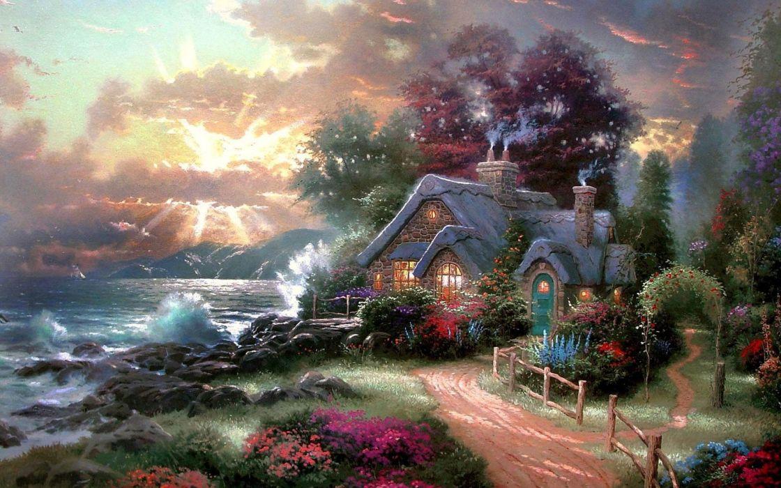 a new day dawning thomas kinkade painting beauty sea sky house wallpaper