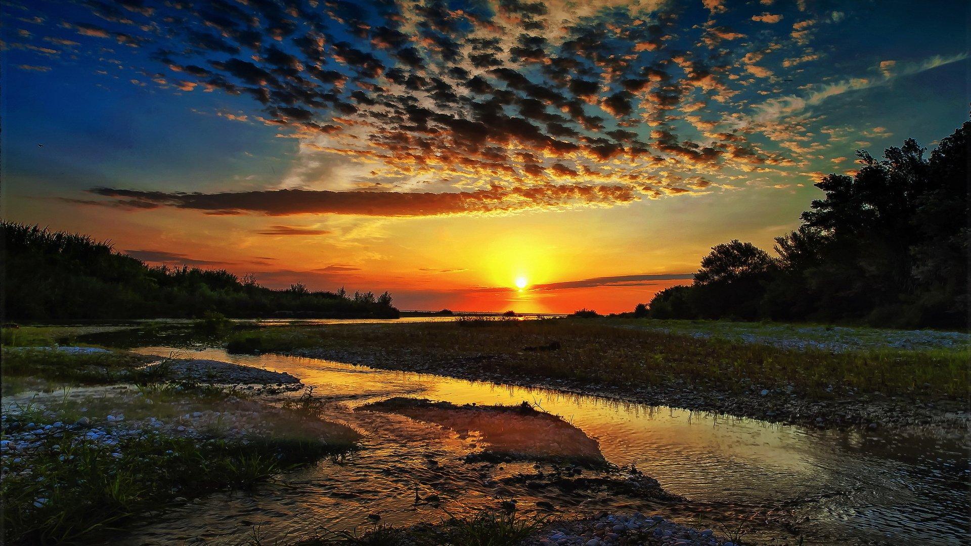 природа облака солнце река  № 2602946 загрузить