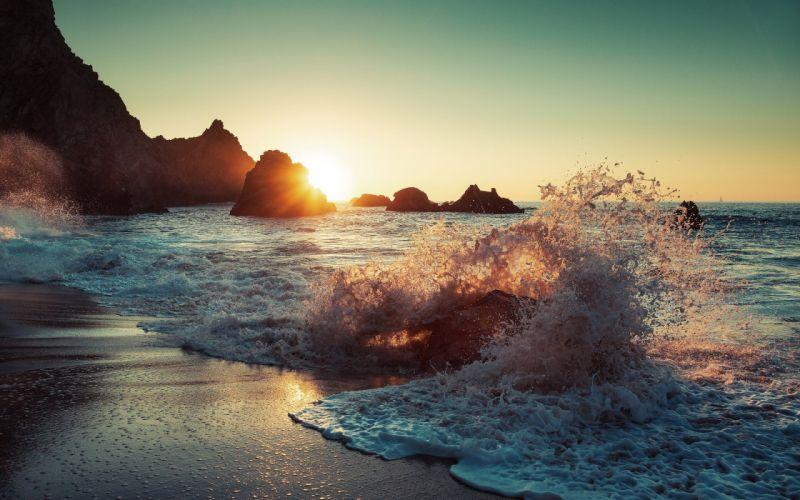 sun sea beach waves splashes wallpaper