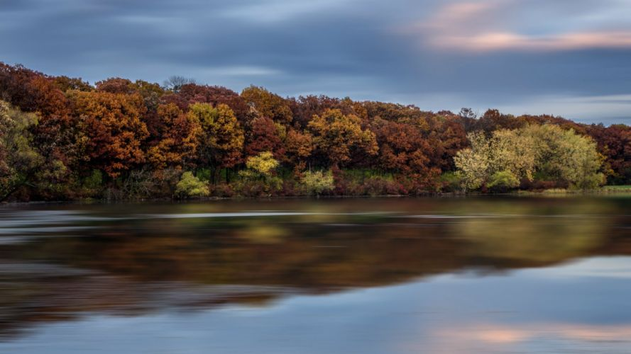 river water reflection clouds trees quiet autumn sky wallpaper