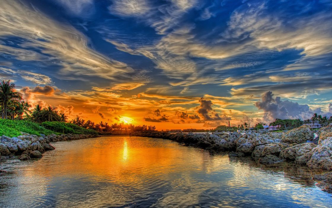 landscape sunset clouds sky nature river water wallpaper