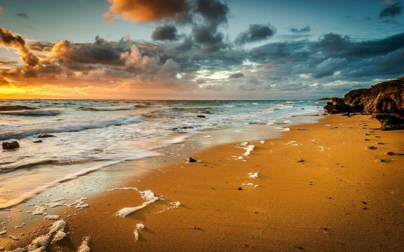sand waves sea beach foam wallpaper