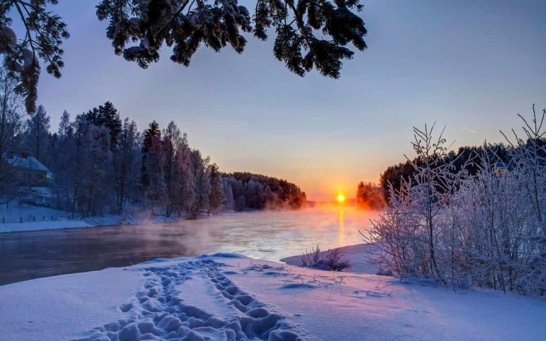 sky sunset river snow white winter nature clouds wallpaper