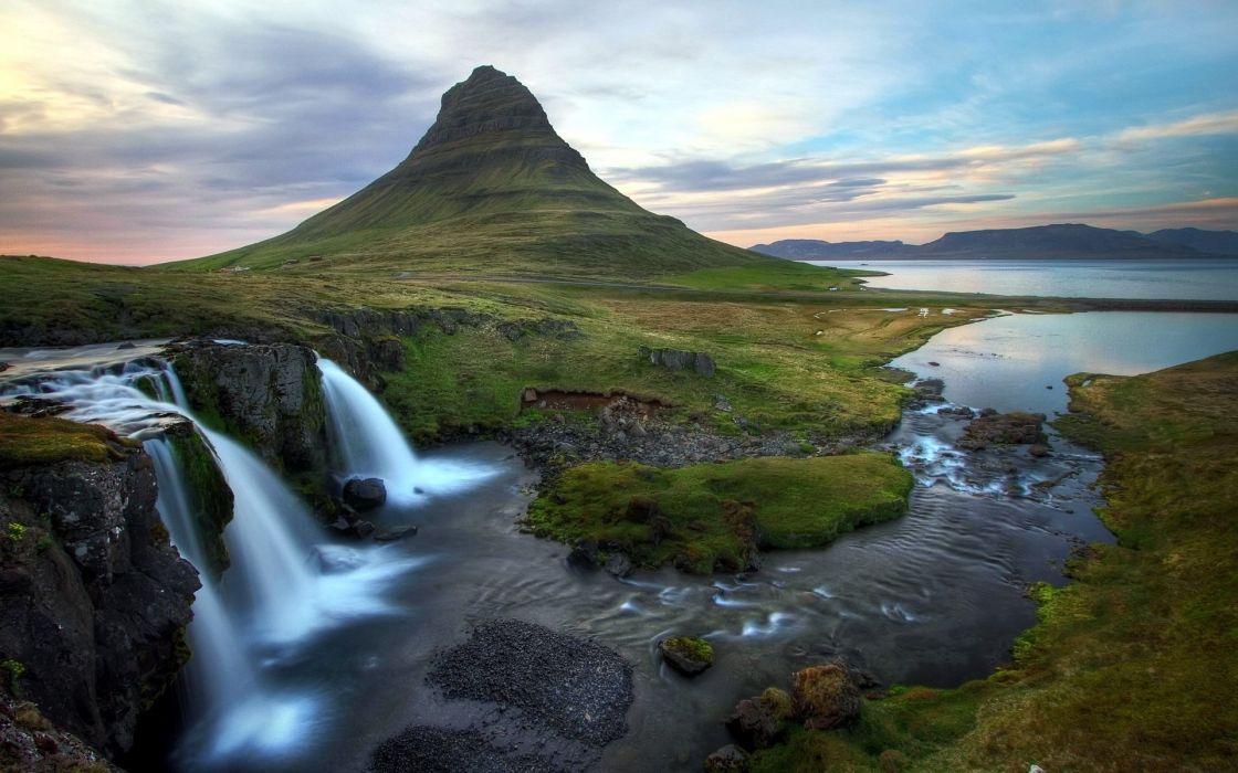 river waterfall mountain landscape wallpaper