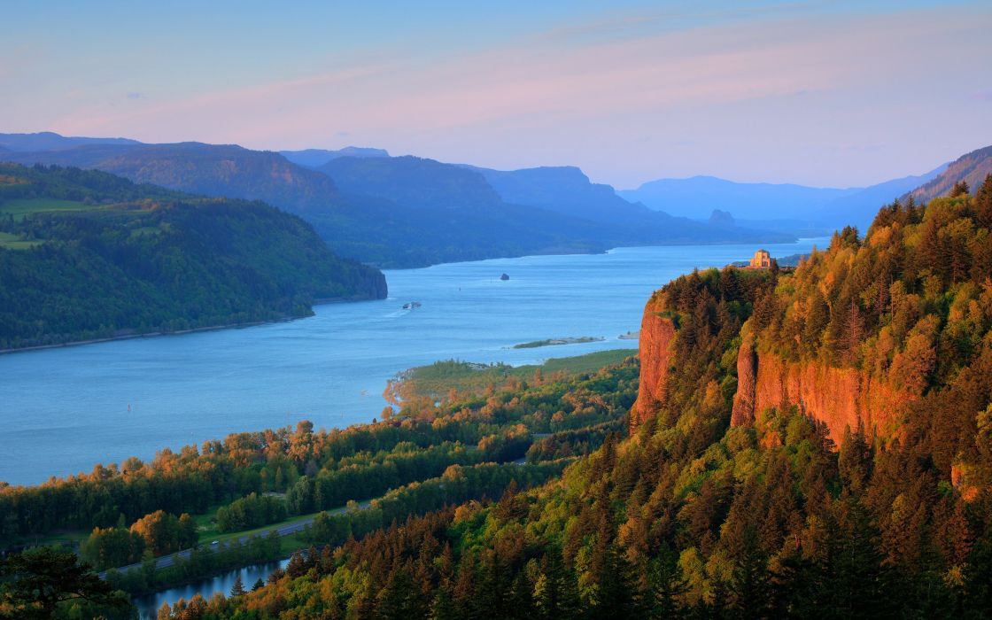 nature river columbia river mountain forest wallpaper