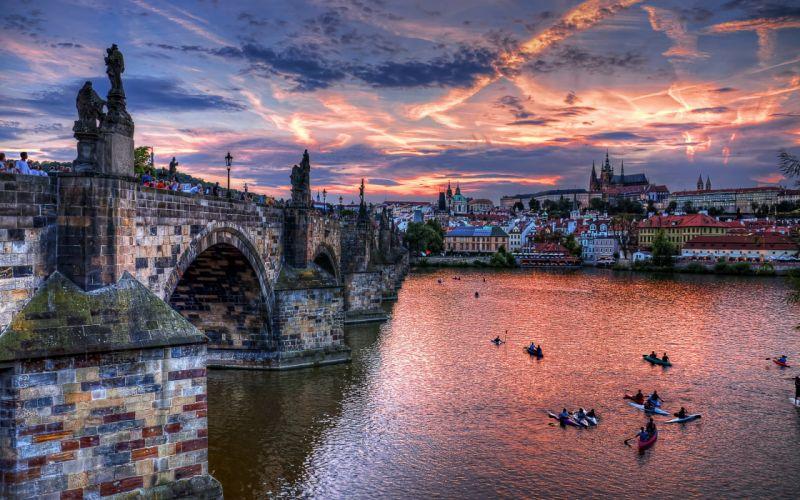 threshold republic bridge evening river cities prague czech republic czech Gorod wallpaper