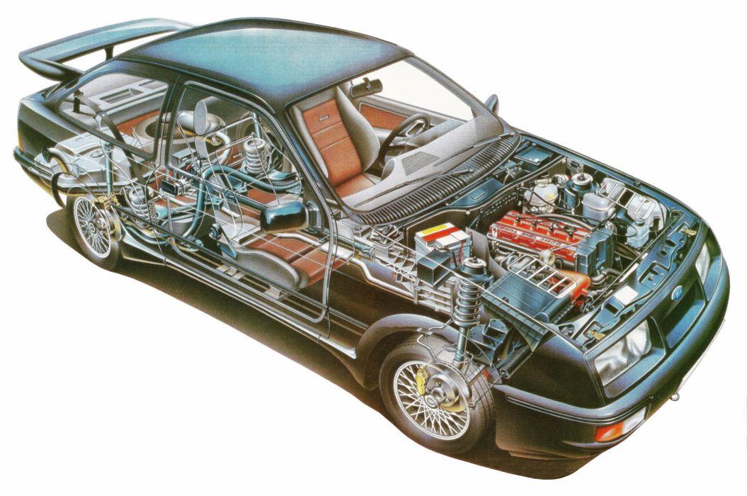 Ford Sierra RS Cosworth cars cutaway 1986 wallpaper