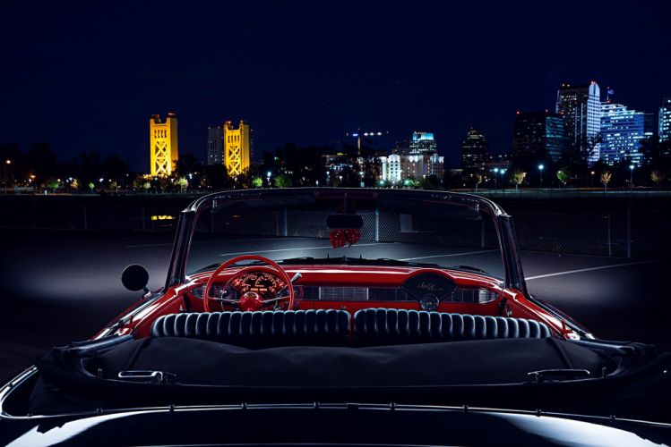 1956 Chevy Red Black Convertible cars classic wallpaper