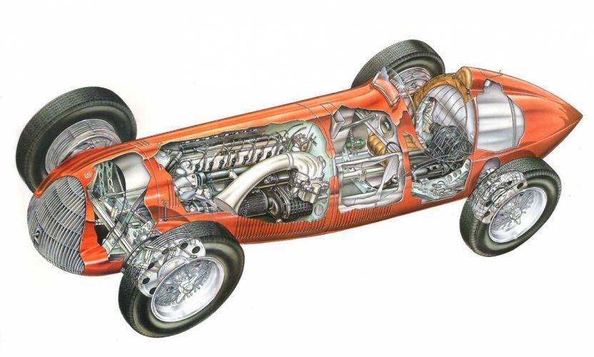 47 Alfetta cars cutaway 1947 wallpaper