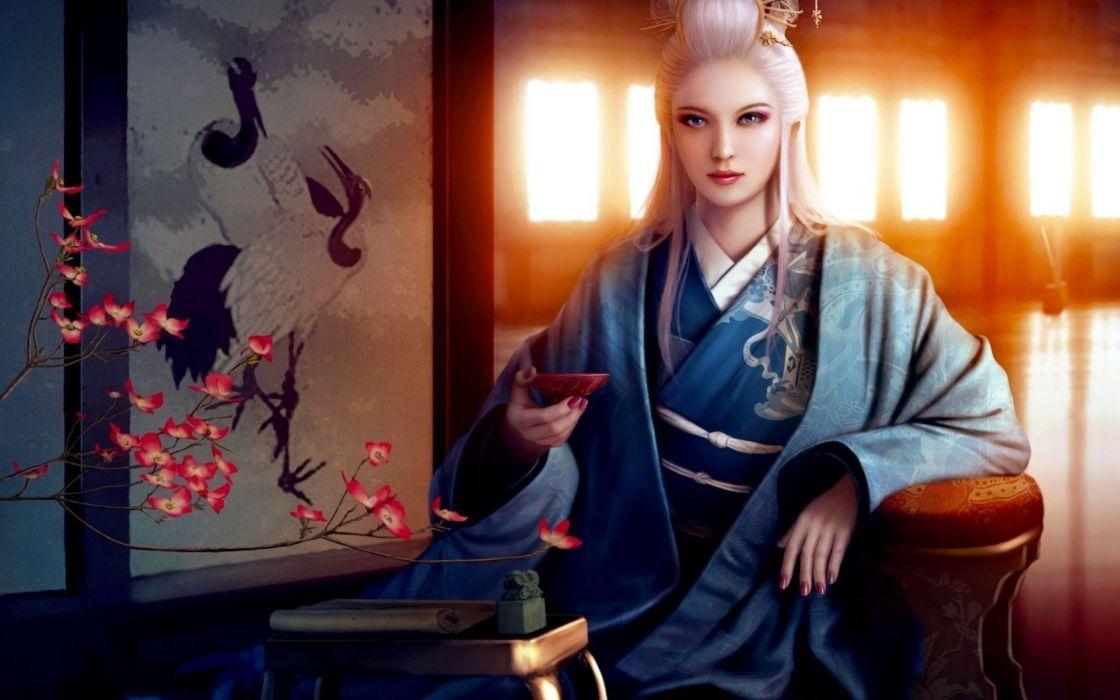 asia kimono flower girl bowl mario wibisono art wallpaper