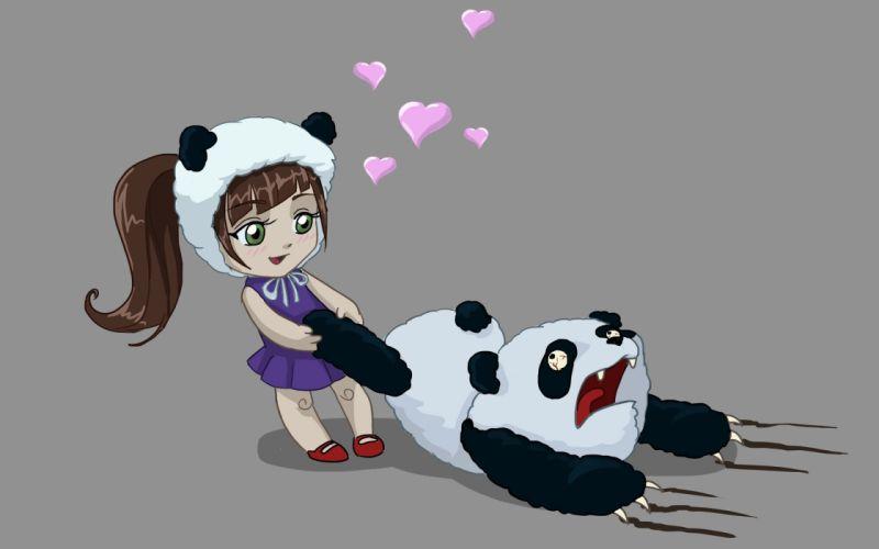 bear love art horror panda girl hearts wallpaper