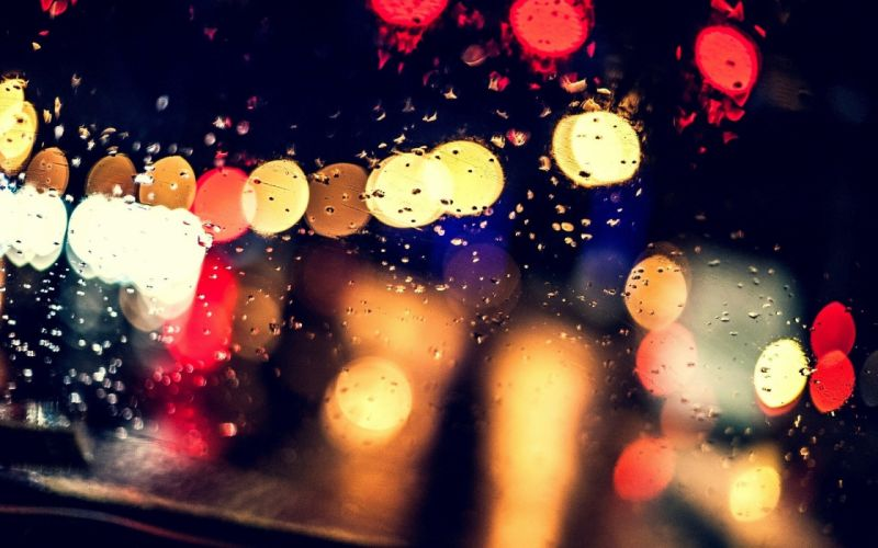 bokeh rain glass night lights drops blur wallpaper