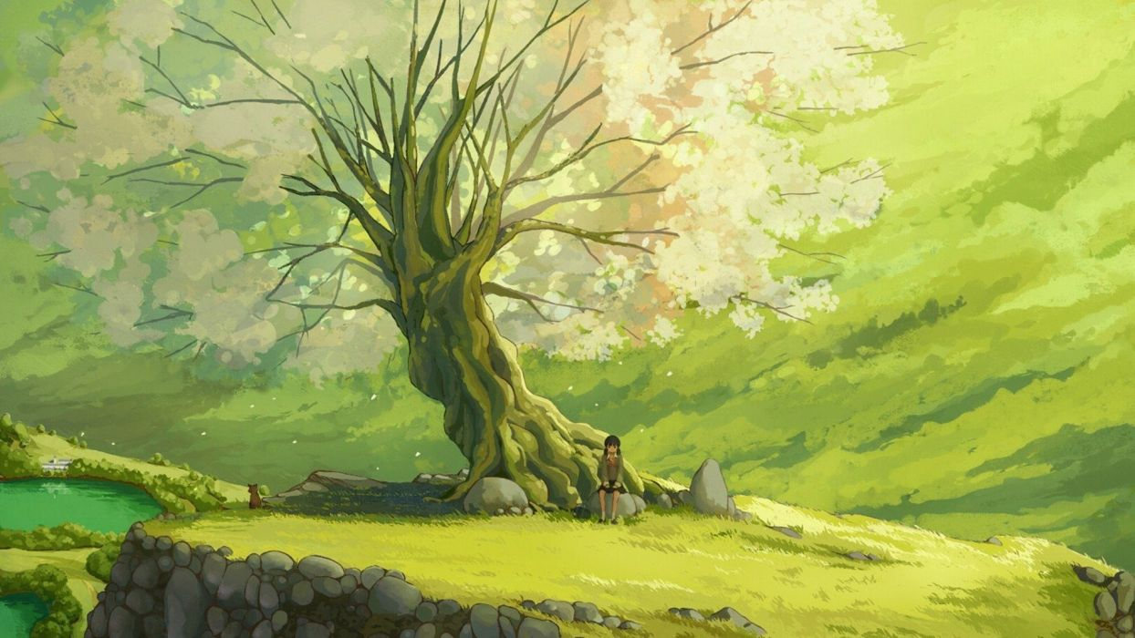 chainimage sad girl sit under tree anime scenery  wallpaper