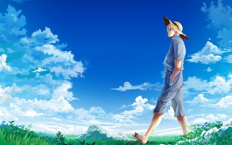 clouds boy meadow sky gintama Gintama hat Sakata Gintoki wallpaper