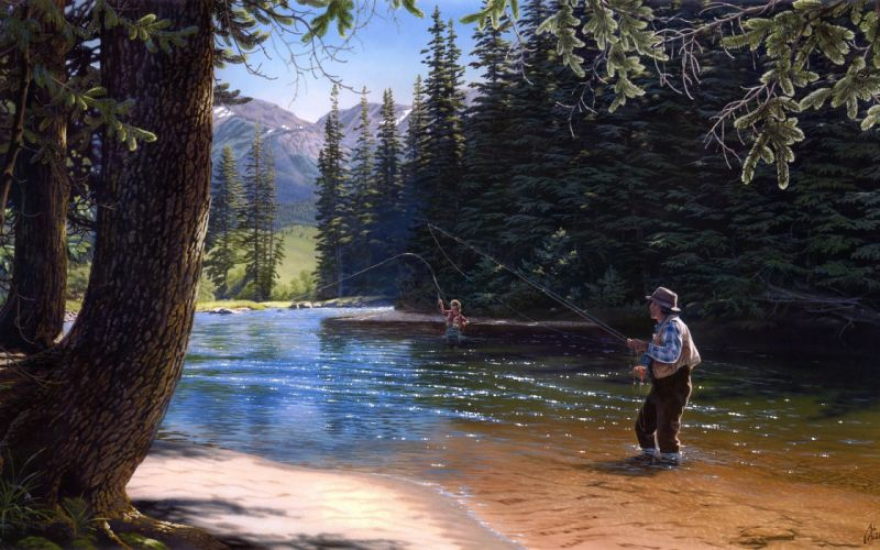 coniferous trees painting al agnew nature time well spent wallpaper