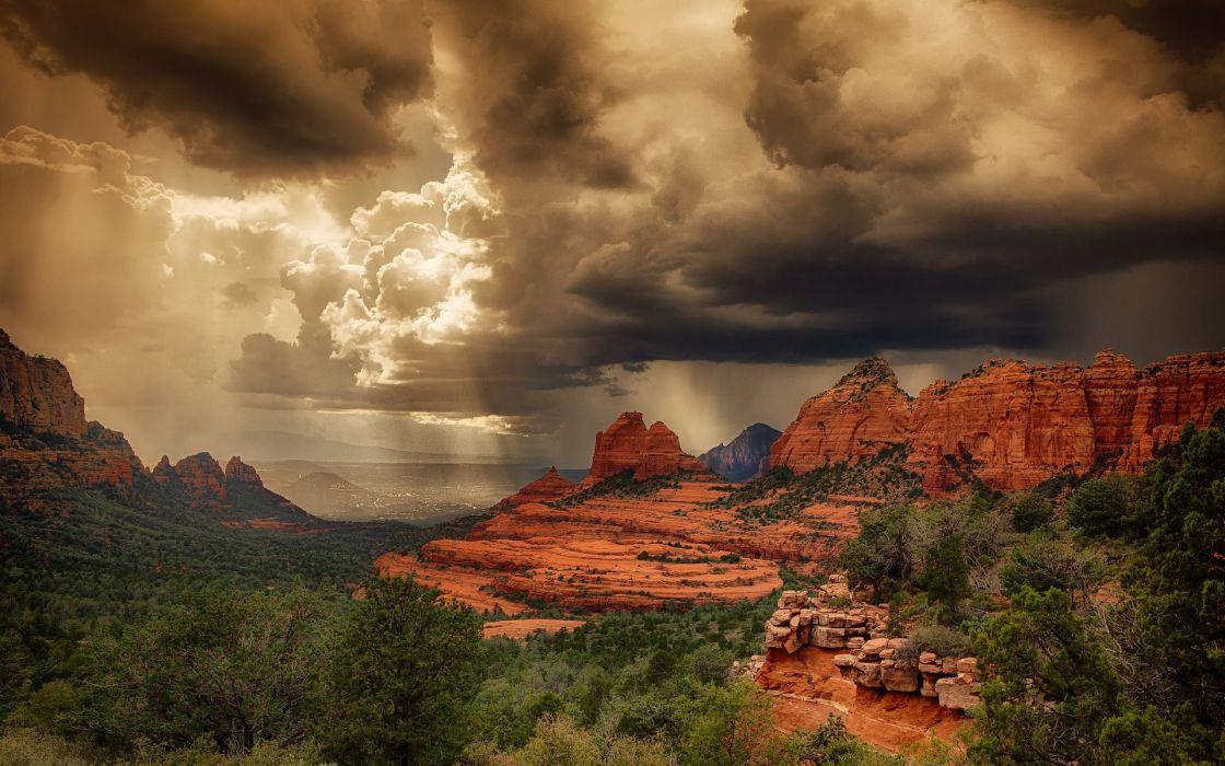 desert usa arizona light storm Sedona summer rocks wallpaper