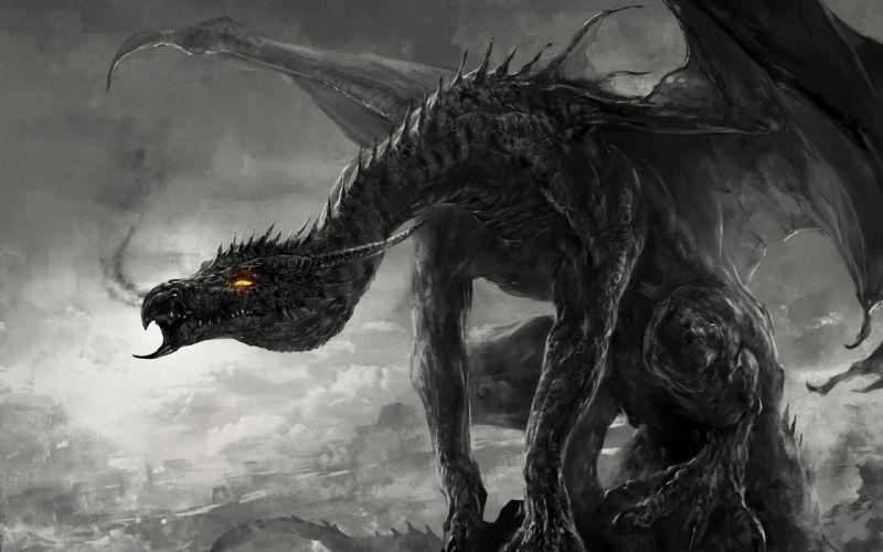 dragon black and white monster art monochrome smoke wallpaper