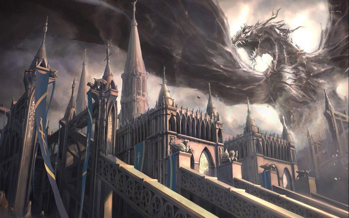 dragon castle monster mark yang wings fall art wallpaper