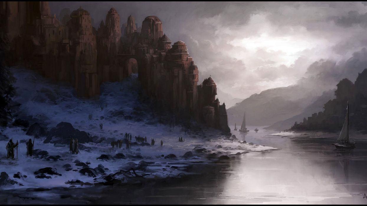 dusk winter andreas rocha crafts art river castle snow wallpaper