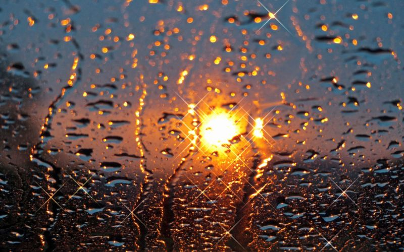 drops glass sun rain sunset wallpaper