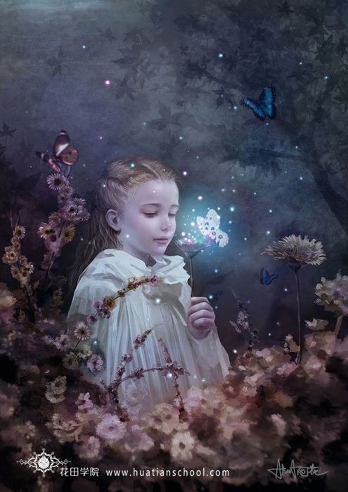 fantasy girl dress flowers rose beautiful forest child butterfly wallpaper