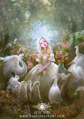 fantasy girl dress flowers rose beautiful forest animal wallpaper